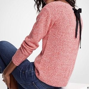 EUC Ann Taylor Tie Back Bow Marled Sweater - M